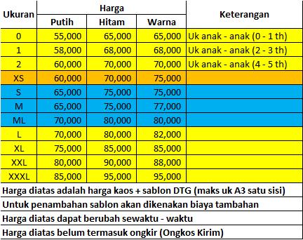 Daftar Harga Sablon Kaos DTG Surabaya