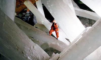 Cristales de cuarzo gigante de la cueva de Naica, Chihuahua
