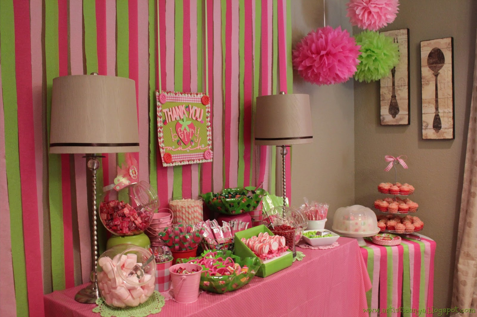 As I was planning the party when I went to several different stores I looked for party favors colored candy or containers. Candy buffets make a huge ... & Artistic Anya Designs: Strawberry Shortcake Party
