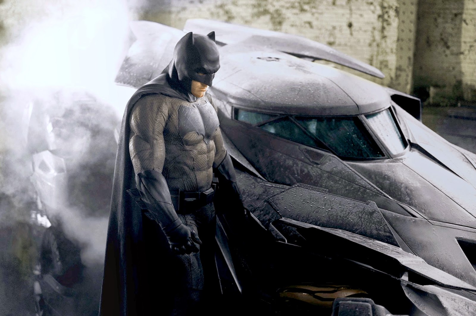 Ben Affleck as Batman in a photo tweeted by director Zack Snyder on the Detroit set of 'Batman v Superman'