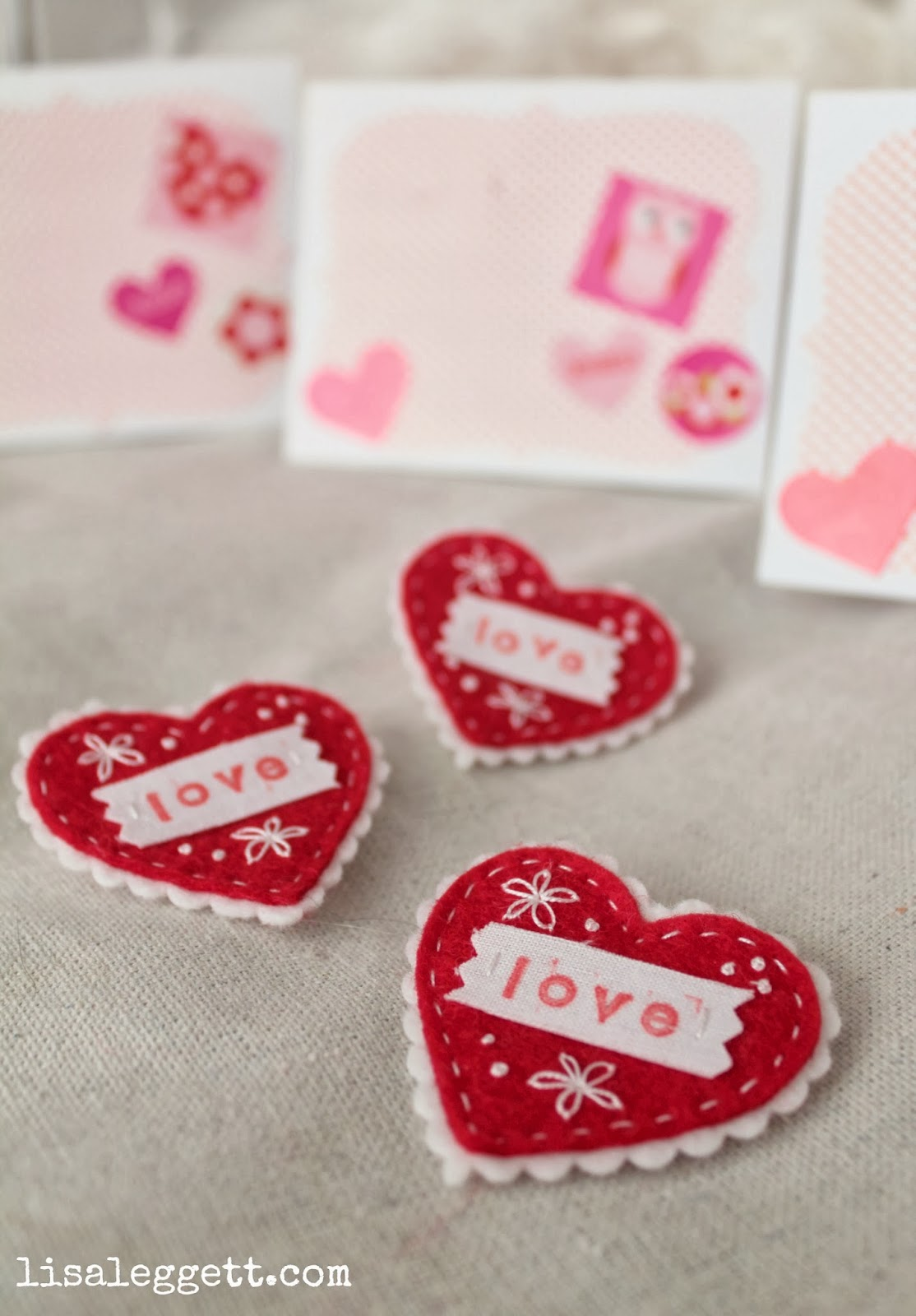 Felt Heart Valentine Pins by Lisa Leggett