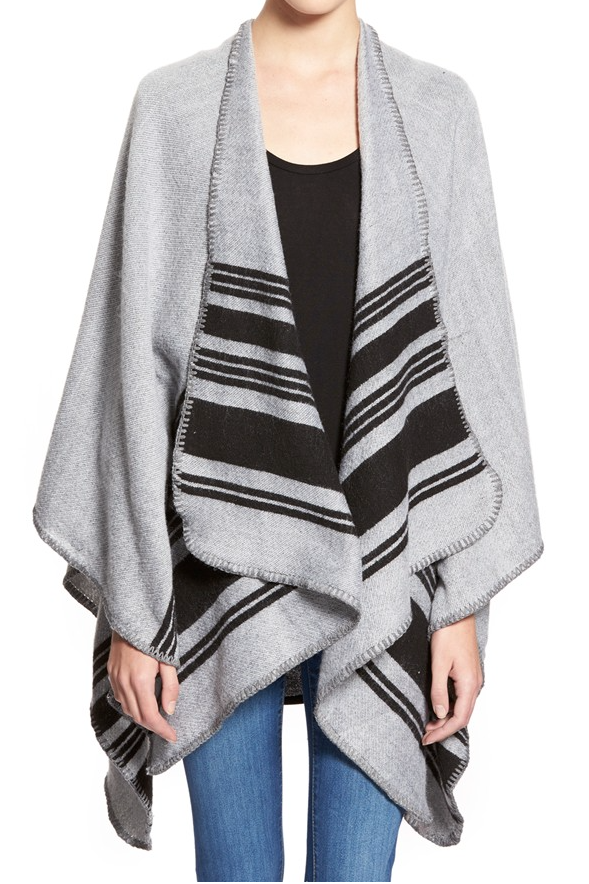 Fall fashion - need to cozy up with this striped poncho
