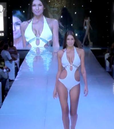 Fehér monokini - ezüst lánc díszítéssel a mell alatt - fürdőruha divat 2013