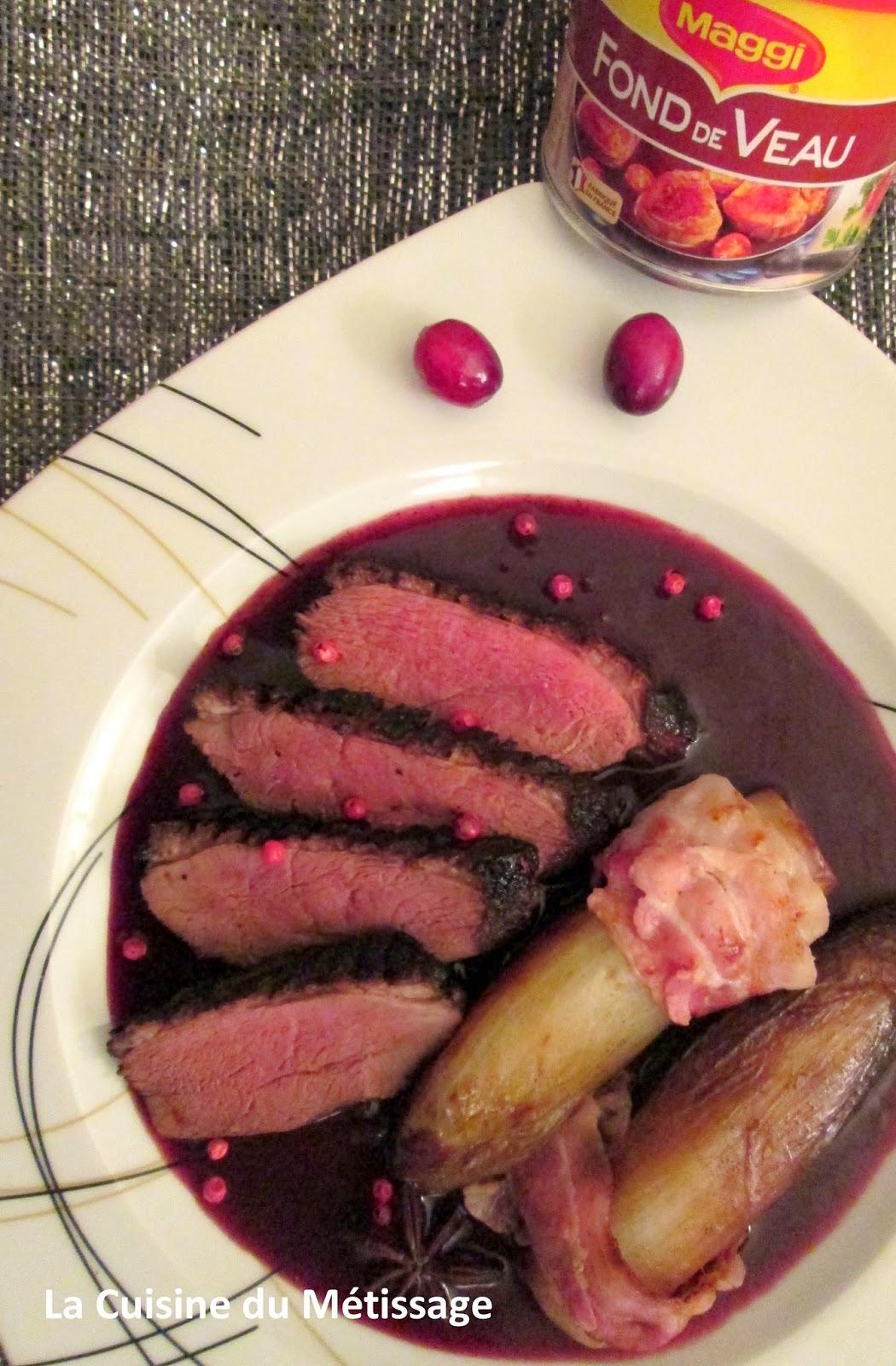 magret de canard aux épices, sauce au vin et cranberries