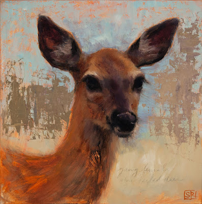 oil painting portrait of a young, female, white-tailed deer by Shannon Reynolds