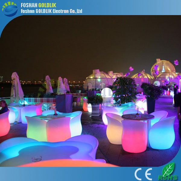 outdoor illuminated furniture one table with 4 chairs - Goldlik Illuminated LED Furniture: Restaurant LED Furniture Table