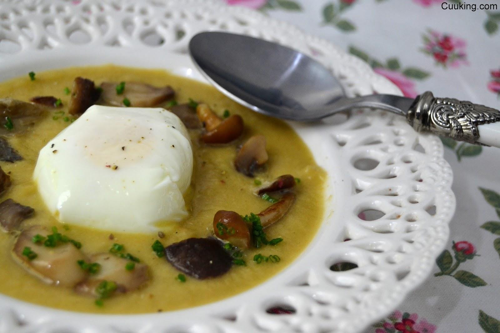 Crema de berenjena a la llama huevo poch y setas for Llama en la cocina