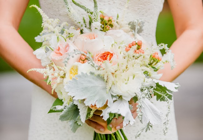 white peonies bride's bouquet, white astilbe, cream Patience garden roses, pale peach Juliet garden roses