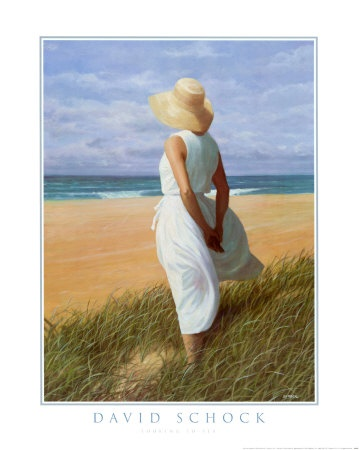 print of woman on the beach looking to sea