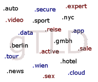Das Bild zeigt einige der neuen generischen Top-Level-Domains: .auto; .secure; .expert; .video; .sport; .nyc; .data; .reise; .app; .berlin; .gmbh; .tour; .active; .sale; .news; .wien; .hote; .sex; .cloud