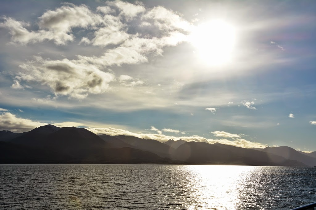 Beagle Canal Ushuaia sun