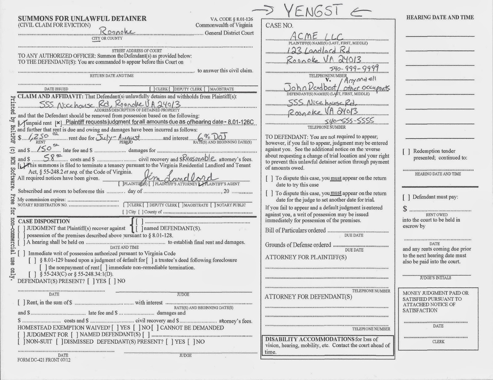 Real Estate Investors Of Virginia How To Fill Out A Summons For