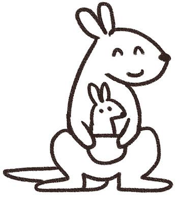 カンガルーのイラスト(動物) 白黒線画