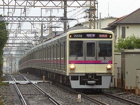 京王電鉄 準特急 高幡不動行き5 7000系LED新表示(H26.6.7豪雨のため運行)