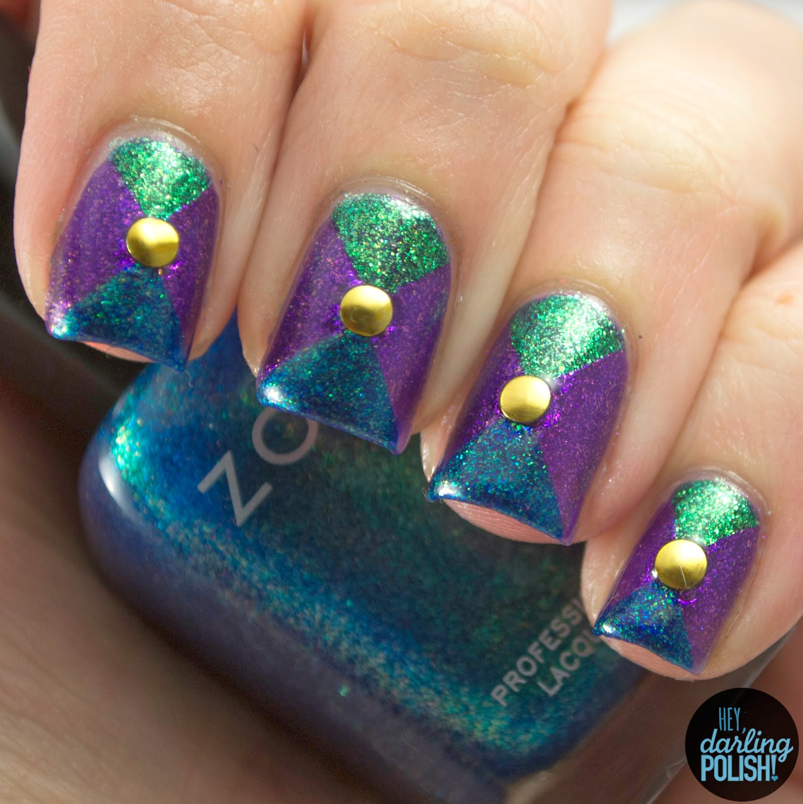nails, nail art, nail polish, polish, purple, blue, green, tri polish challenge, zoya, triangles, hey darling polish