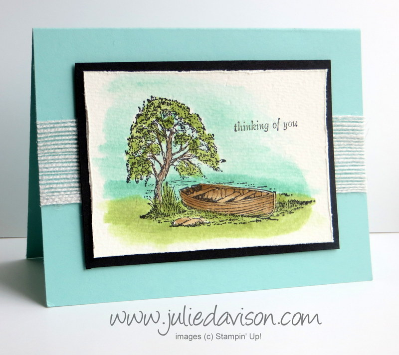 VIDEO: How to Watercolor with Stampin' Up! Moon Lake, Aqua Painter, & ink pads #occasions #stampinup www.juliedavison.com