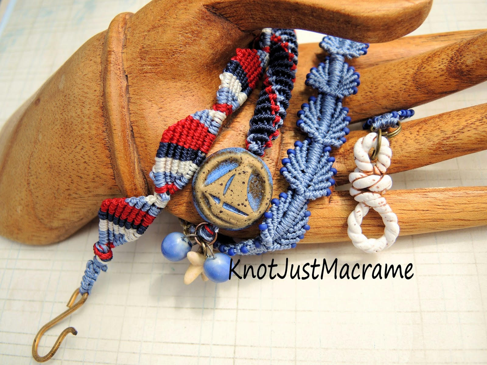 Knotted micro macrame bracelet by Knot Just Macrame with art beads by Suburban Girl Studio.