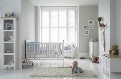 Dormitorio blanco colores bebe