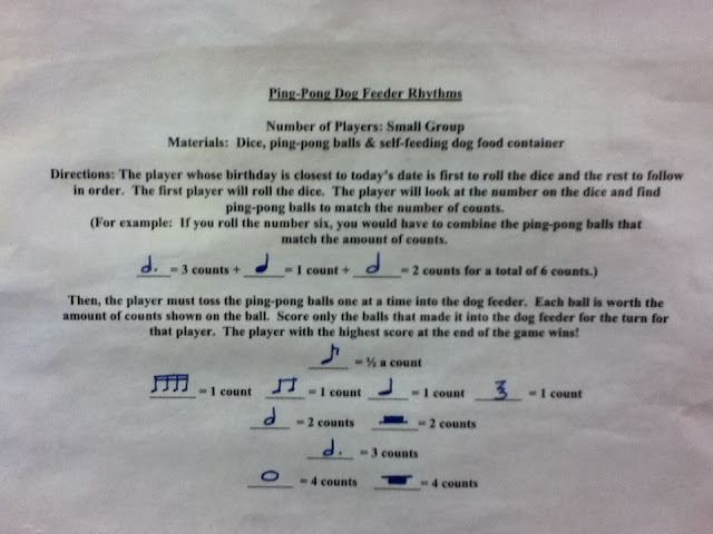 Music game for elementary age students.  DIY project from musicclassideas.blogspot.com