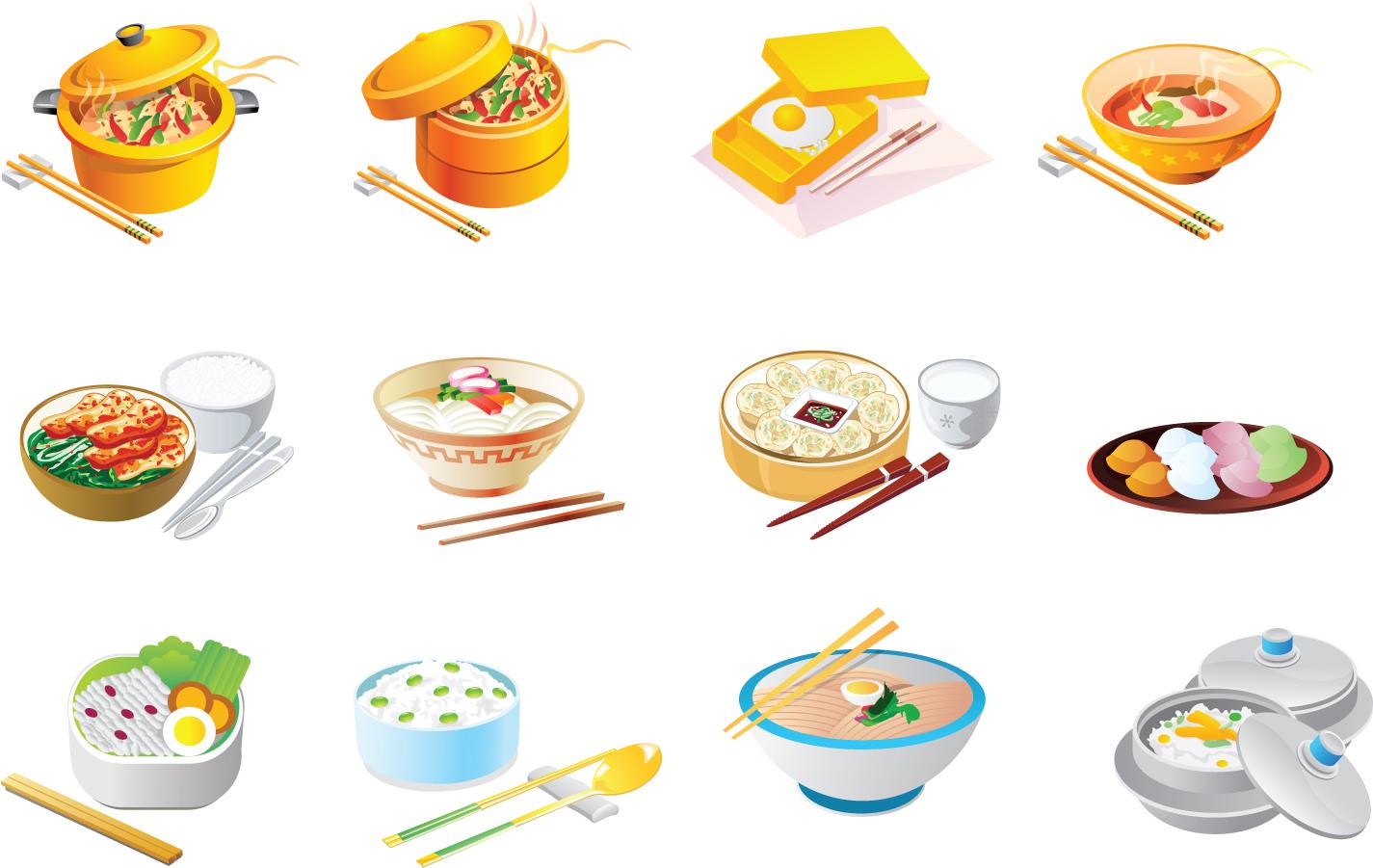 食品のメニュー アイコン Cartoon food icon イラスト素材