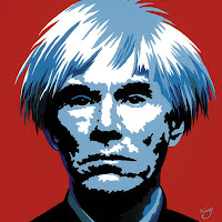 Andy Warhol late older self-portrait black and white red background famous