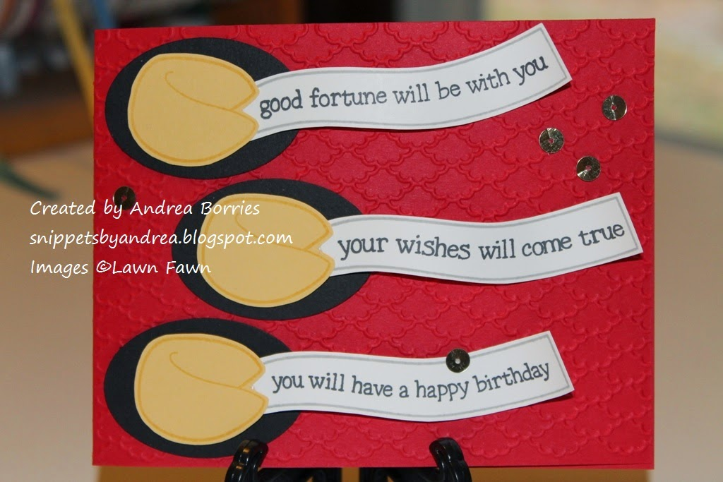 Birthday card featuring three fortune cookies made with the Good Fortune stamp set from Lawn Fawn.