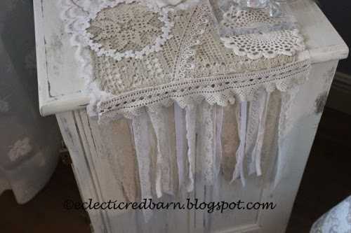 Eclectic Red Barn: Doily dresser scarf , side