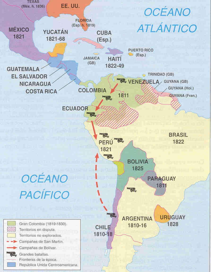 Historia para aburrir MAPA DE INDEPENDENCIA DE AMRICA