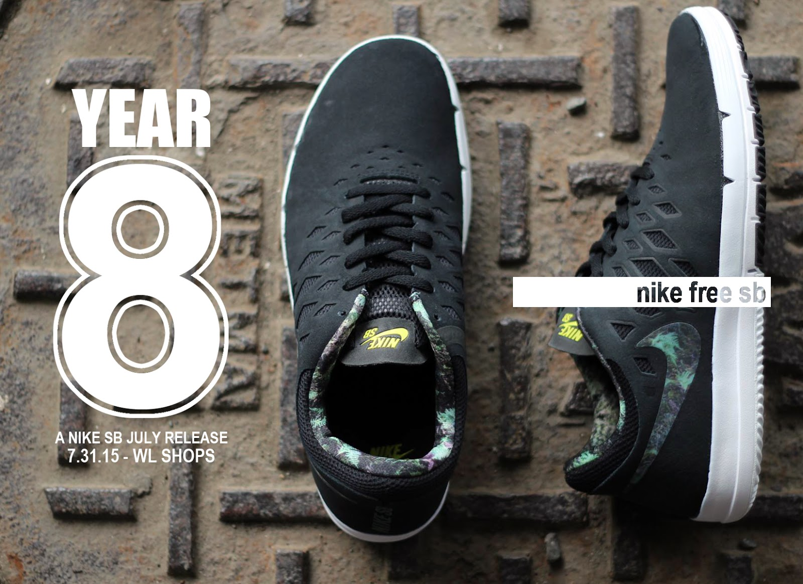 nike sb free black/gorge green/white