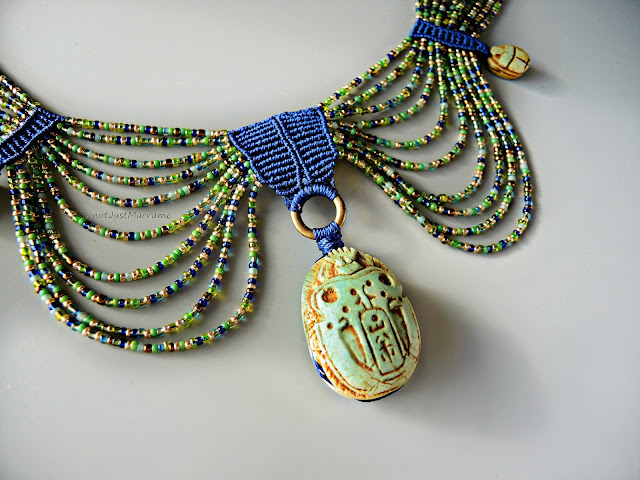 Egyptian style collar with Scarab by Sherri Stokey of Knot Just Macrame.