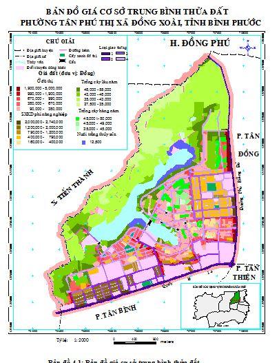 Bản đồ giá cơ sở trung bình thửa đất Tân Phú, Đồng Xoài