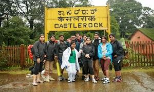 Group photo at Castlerock railway station, the starting point of Dudhsagar water falls trekking