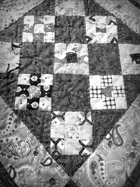 Homemade Quilt in Black and White Photo