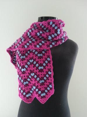 Gehaakte sjaal extrafine Merino Hjertegarn