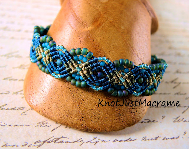 Peacock micro macrame bracelet in teal, olive and turquoise by Sherri Stokey.