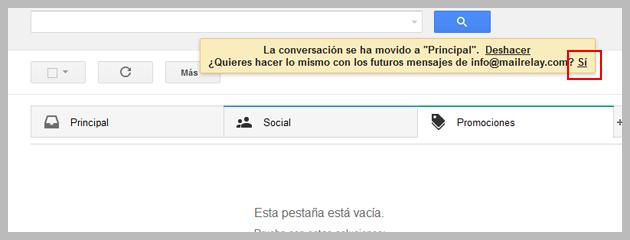 bandeja de entrada de gmail promociones