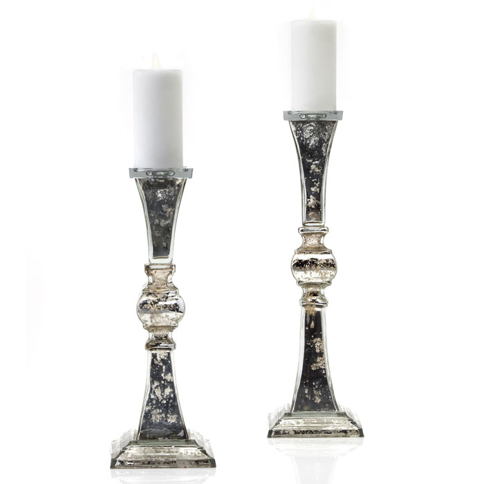 Two Mercury glass candle holders