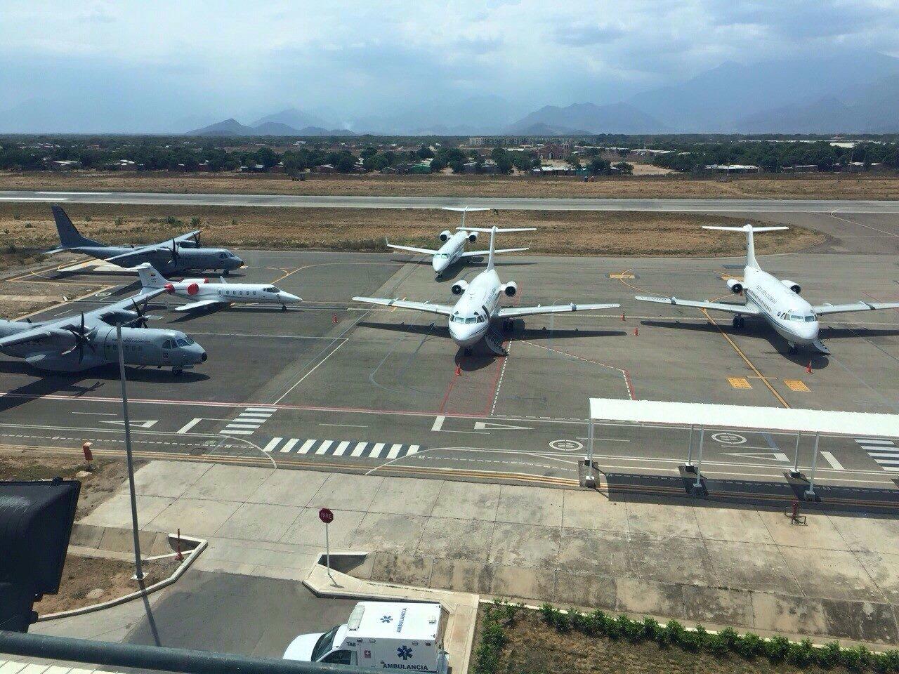 Gran parte de la flota del Escuadrón de Vuelos Especiales de la Fuerza Aérea Colombiana.