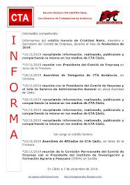 C.T.A. INFORMA CRÉDITO HORARIO CRISTOBAL NIETO, NOVIEMBRE 2019