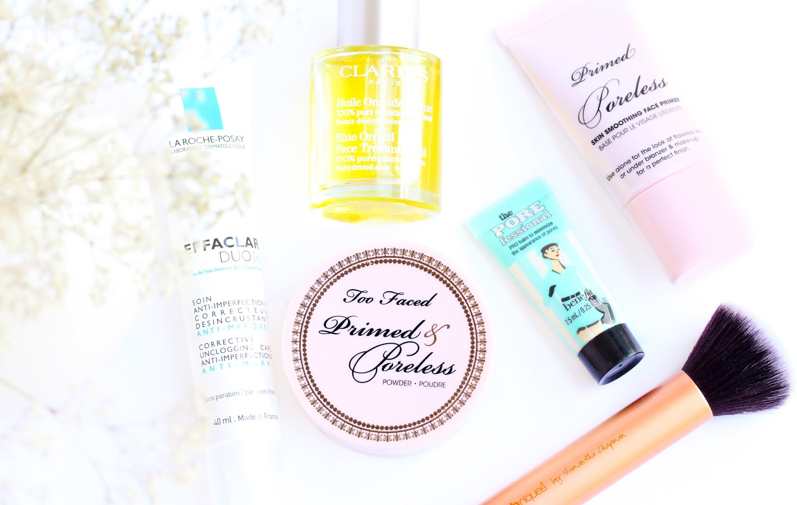 how to minimize pores, too faced primed and pore less, benefit the porefessional, la roche-posy effacar duo, clarins Blue orchid face oil,