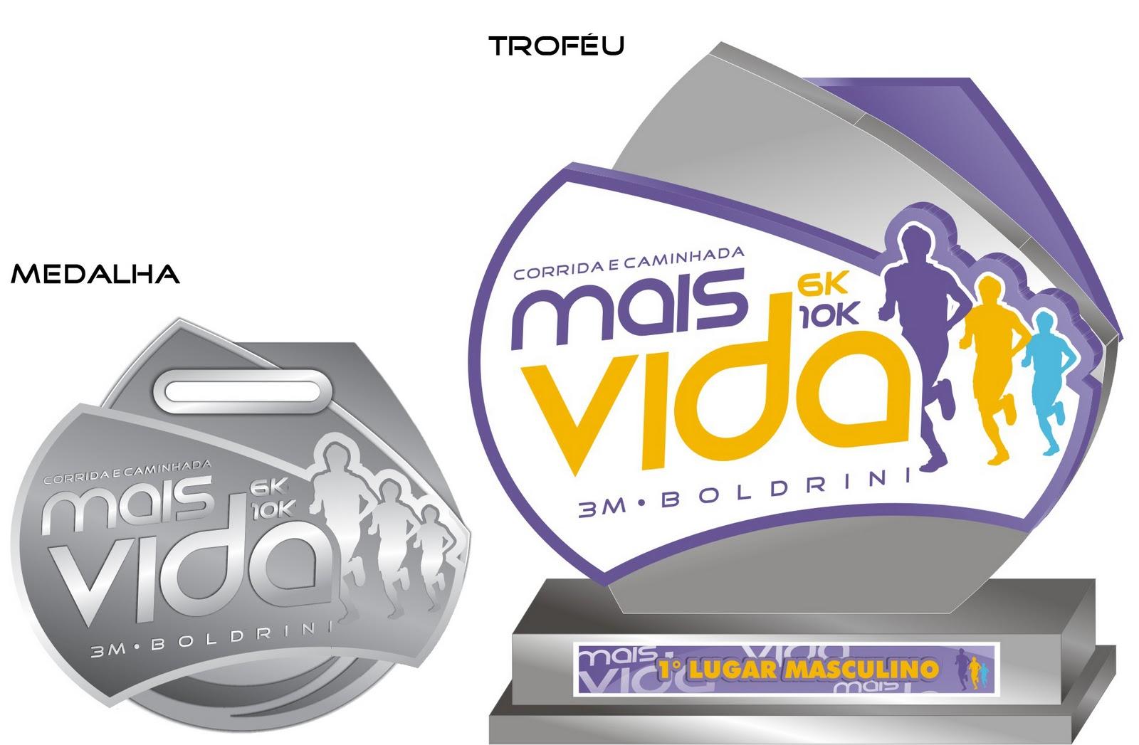 Medalha e Troféu Corrida Mais Vida Boldrini