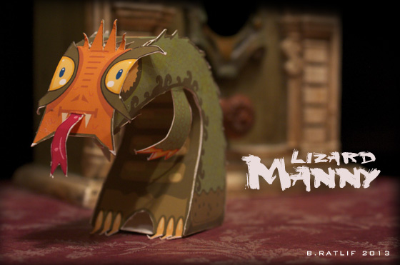 Lizard Manny Paper Toy