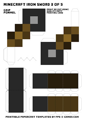 Printable papercraft of Minecraft iron sword