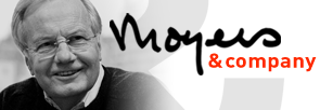 Photo of Bill Moyers and scrawled Moyers & Company logo
