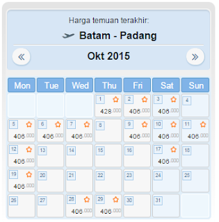 harga tiket pesawat batam padang oktober 2015