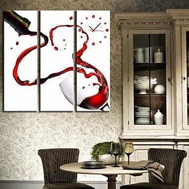 Reloj de pared lienzo Vino