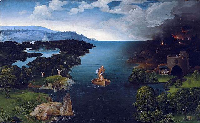 Pintura el Cruce del río Estigia Obra de Joachim Patimir