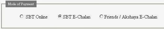 payment through sbt e chalan