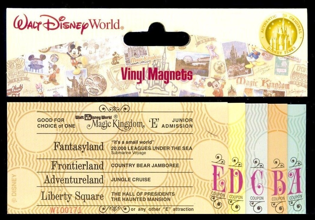 Vintage WDW Ticket Magnets We Purchased Last Week Incorrectly Has Tiki Room Listed As Under New Managementeverything Else On Tickets Is