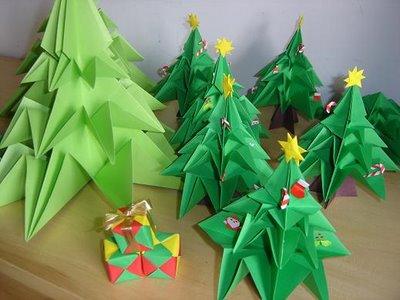 Origami Pinheiro de Natal Fazendo Arte